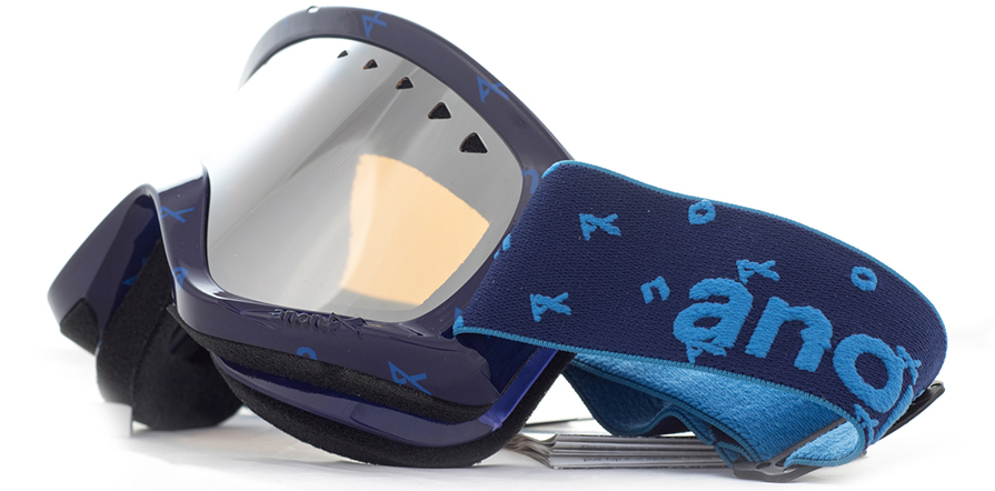 Anon Helix Snowboard Goggles Etched Silver with Silver Amber Lens side view close up listing