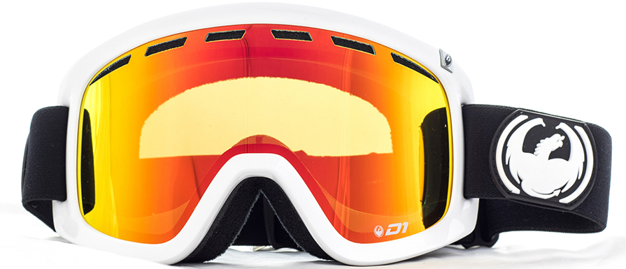 Dragon D1 Inverse White Frame Goggles with Red Ion Lens