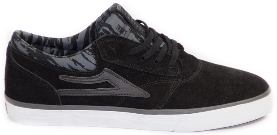 Lakai Griffin Black Grey Suede Skateboard Shoe Side View