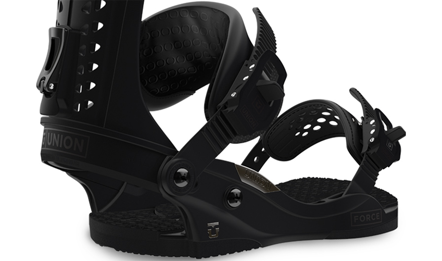 Union Force Snowboard Bindings in Black in listing close up