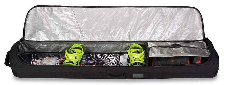Dakine Low Roller Wheeled Snowboard Bag Packed Ready