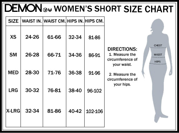 Womens Size Guide for Snowboard Padded Shorts