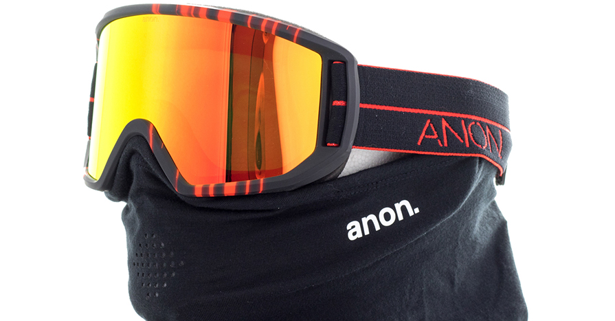 Relapse MFI Snowboard Goggles in Red Light in listing close up side view