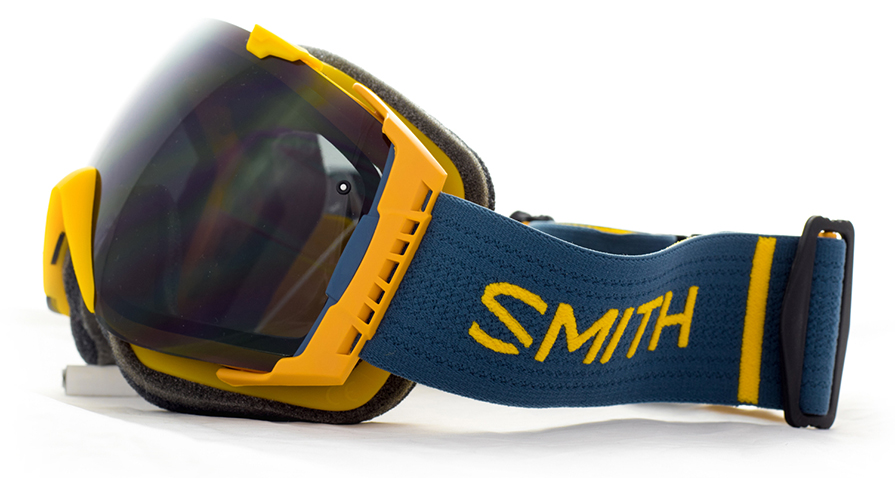 Smith I/O Goggles Mustard Conditions Blackout side view in listing close up