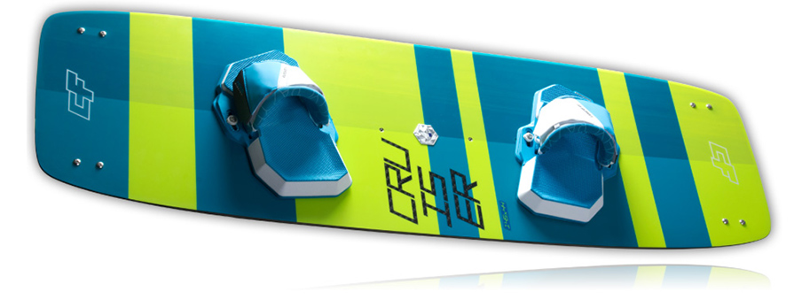 CrazyFly Cruiser Light Wind kiteboard in listing