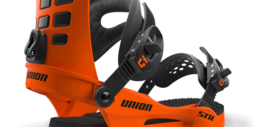Union str snowboard binding in orange in listing close up