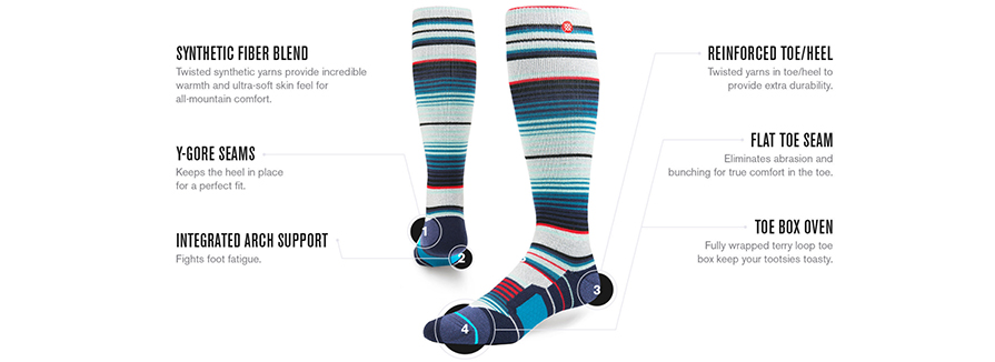 Stance Yo Bigs snowboard socks all mountain specs