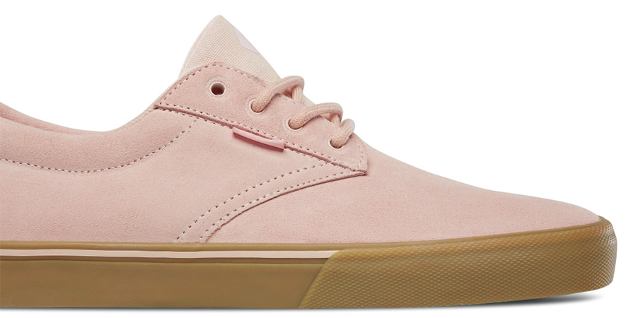 Etnies Jameson Vulc Skate Shoe in Pink in listing close up of laces etnies jameson 2 eco