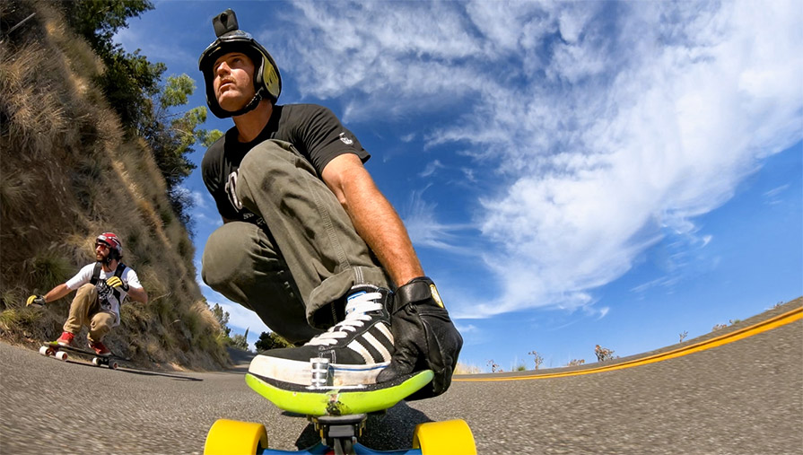 GoPro Fusion 360 Action Sports Camera in use longboarding find the right shot