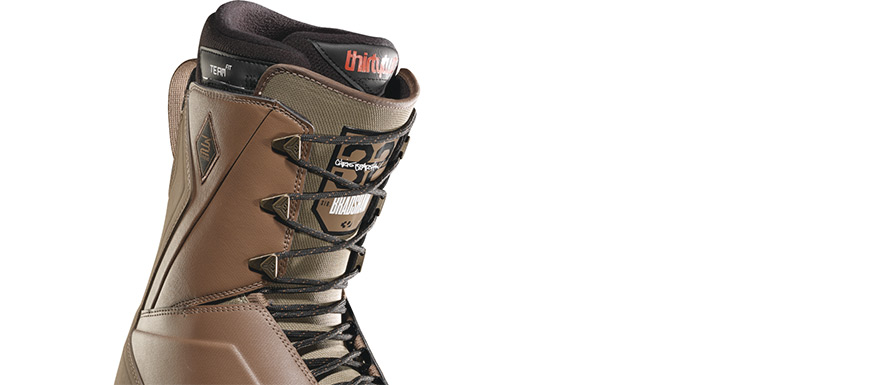 Thirty Two Lashed Bradshaw Brown Green Snowboard Boots in listing close up