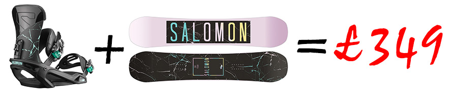Salomon Oh Yeah Womens Snowboard package deal with Salomon Vendetta Womens Snowboard Bindings