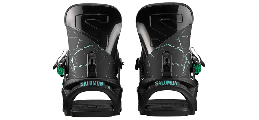 Salomon Vendetta Black Marble Womens Snowboard Binding high back listing close up