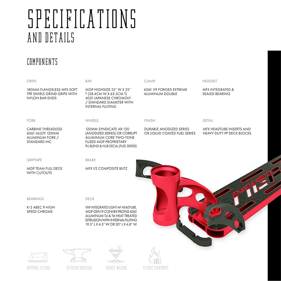 MGP VX9 Team Edition Scooter Specs