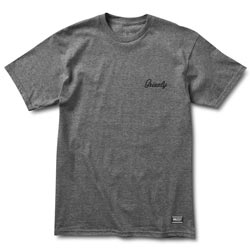 Grizzly Griptape Heather Charcoal Cursive Embroidery T-shirt