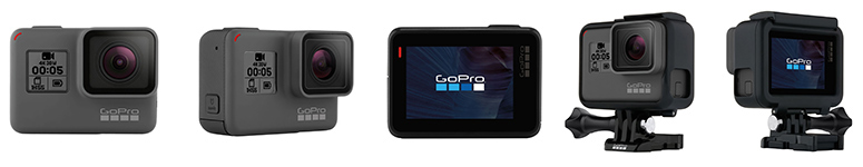 GoPro Hero 5 Black differnt views and in case