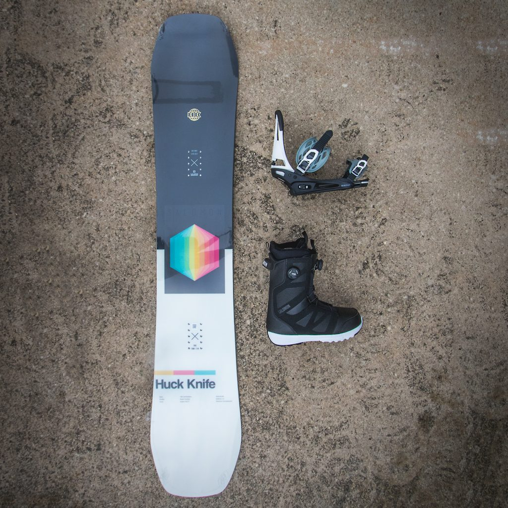 atbshop snowboard setup salomon huck knife snowboard with burton cartel bindings