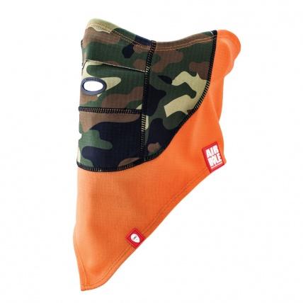 airhole technical camo orange facemask