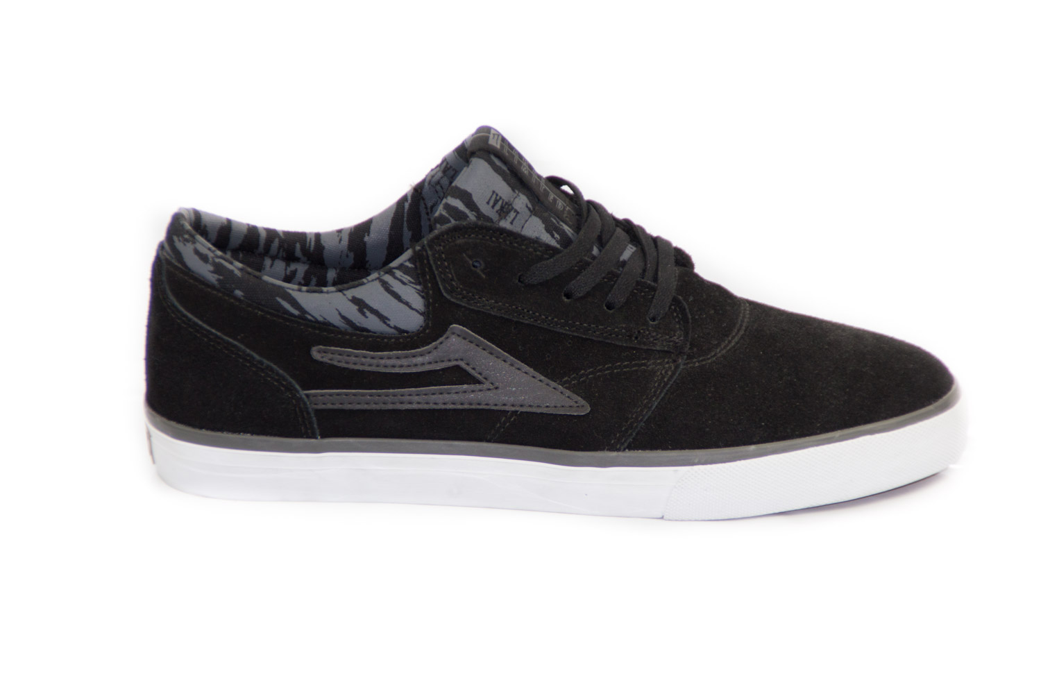... Side view of Lakai Griffin Skate Shoe Black Grey ...