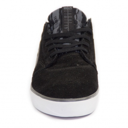 Front view of Lakai Griffin Skate Shoe Black Grey
