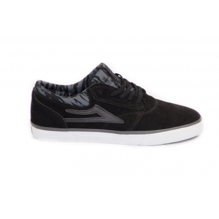Side view of Lakai Griffin Skate Shoe Black Grey