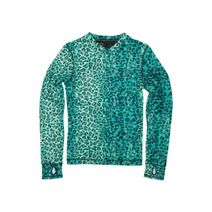 686 Womens Therma Base Layer Top Emerald Leopard