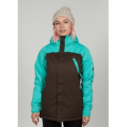 686 Womens Authentic Festival Insulated Coffee Jacket Model Front View