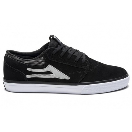 Lakai Griffin Skate Shoes in Black Suede Side View