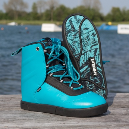 Hyperlite AJ System Wakeboarding Boot 2016 in Blue front and bottom