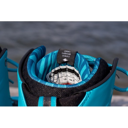 Hyperlite AJ System Wakeboarding Boot 2016 in Blue Jimmy Lariche tong close up