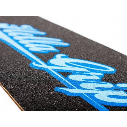 Hella Grip Classic Logo Blue on Blue Icebox Scooter Grip Close Up