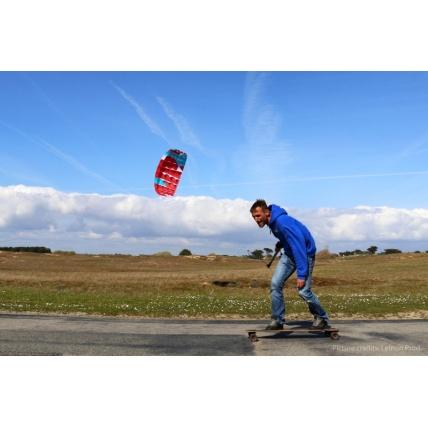 Peter Lynn Uniq Single Skin Trainer Kite in use longboarding