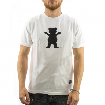 Grizzly OG Bear Logo Tee in White front view