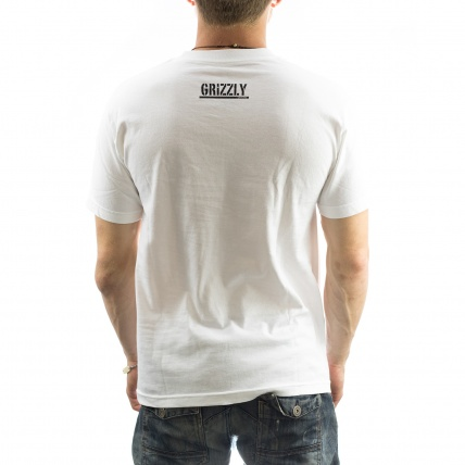 Grizzly OG Bear Logo Tee in White rear view