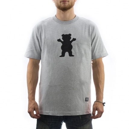 Grizzly OG Bear Logo Tee in heather front view