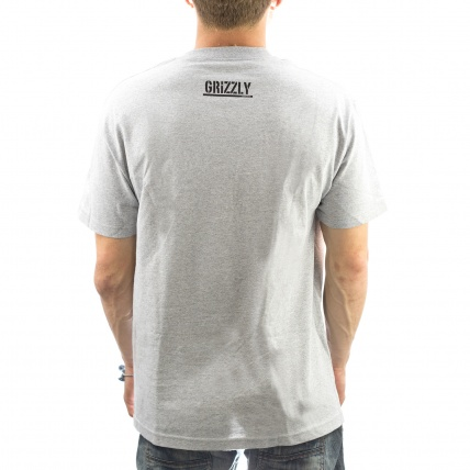 Grizzly OG Bear Logo Tee in heather rear view