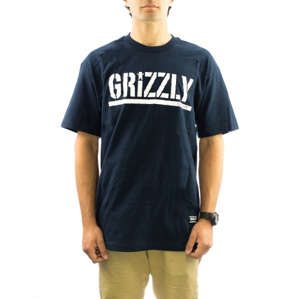 Grizzly Griptape OG Stamp Logo Tee in Navy Blue Front