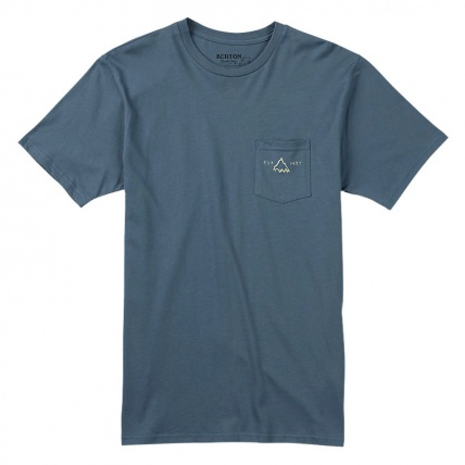 Burton Crafted Pocket T Shirt in Blue Mirage