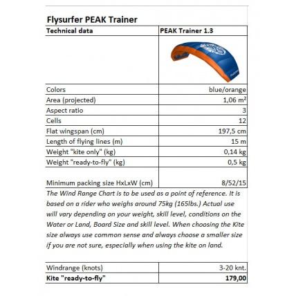 Flysurfer Peak Trainer 1.3m Kite Stats