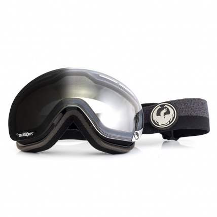 Dragon X1s Flux Black Transitions Snowboard Goggle front view transition tint