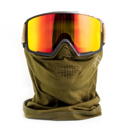 Anon M3 Polarias Red SolX MFI Snowboard Goggles front view with MFI