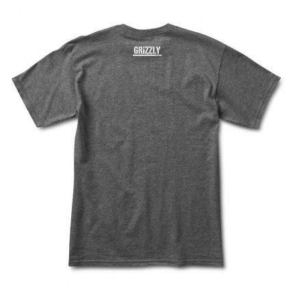 Grizzly Griptape Heather Charcoal Cursive shirt rear