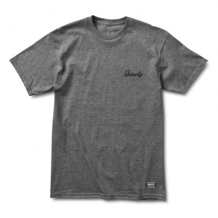 Grizzly Griptape Heather Charcoal Cursive shirt
