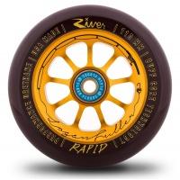 River Wheel Co - Rapids 110mm The Angler wheel Black on Gold