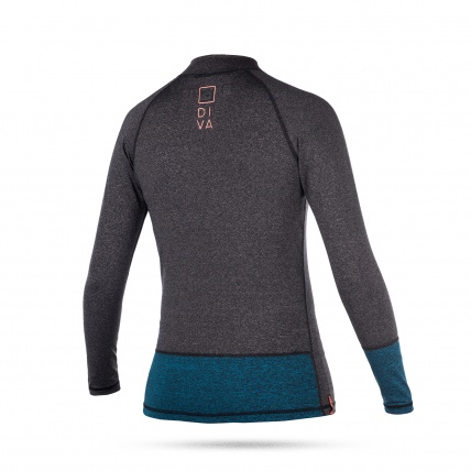 Mystic Diva Womens Long Sleeved Rash Vest in Teal Rear