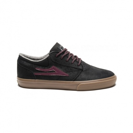 Lakai Griffin WT Black/Gum Oiled Suede Skate Shoe Side