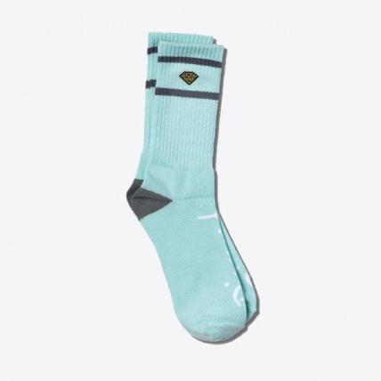 Diamond High Stripe Socks in Diamond Blue & Charcoal