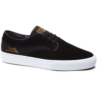 Lakai - Riley Hawk Black and Gold Suede Skate Shoes