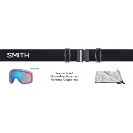 Smith I/OX Black ChromoPop Everyday Green Snowboard Goggles Package