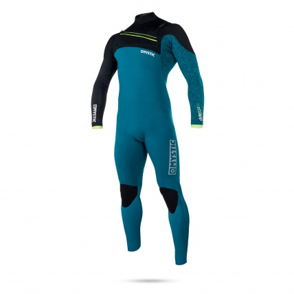 Mystic Drip 5/4mm FZ Winter Wetsuit in Teal on white