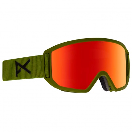 Anon Relapse Bear Green with Red SolX Lens Snowboard Goggles